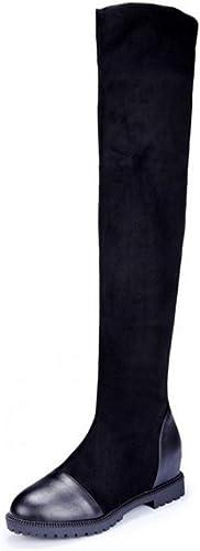 ZHRUI Bottes pour Femmes sur Le Genou Haut Haut Noir Pur Mode Chaussures Cool rue Ladies (Couleuré   Noir, Taille   5 UK)