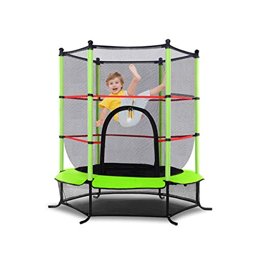 DREAMADE Gartentrampolin Kinder, Kindertrampolin Gartentrampolin für Indoor und Outdoor, Trampolin mit Sicherheitsnetz und Randabdeckung, Fitnesstrampolin, Farbewahl (Grün)