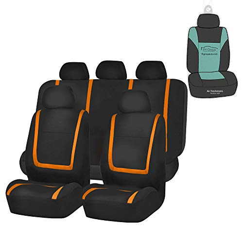 FH Group FB032115 Unique Flat Cloth Seat Covers (Orange) Full Set with Gift - Universal Fit for Cars Trucks and SUVs