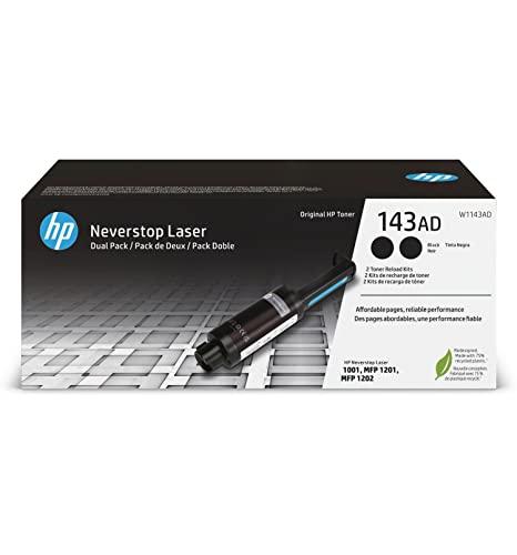 HP 143A W1143AD, Negro, Kit de Recarga de Tóner Original, Pack de 2, para impresoras HP Neverstop Laser Serie 1000 y 2000