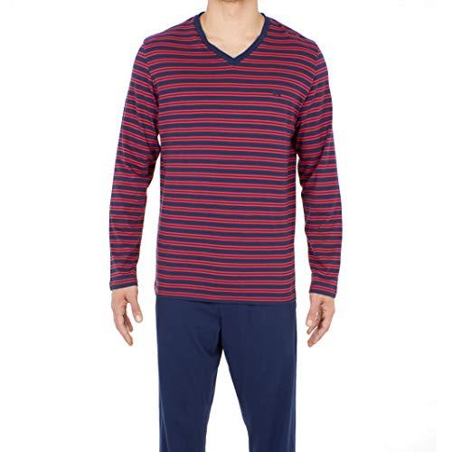 HOM Herren Long Sleepwear Zweiteiliger Schlafanzug, Blau (Haut: Rayé Marine Et Rouge, Bas: Marine Uni 00ra), Large