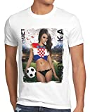 style3 EM 2020 Soccer Girl Deutschland Herren T-Shirt Fußball Trikot Germany Weiss, Größe:XL, Land:Kroatien