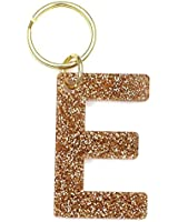 Letter E Keychain Accessories for Women and Girls, Gold Glitter Initial Key Ring