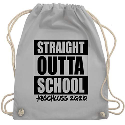 Abi & Abschluss - Abschluss 2020 Straight Outta School - Unisize - Hellgrau - school bag - WM110 - Turnbeutel und Stoffbeutel aus Baumwolle