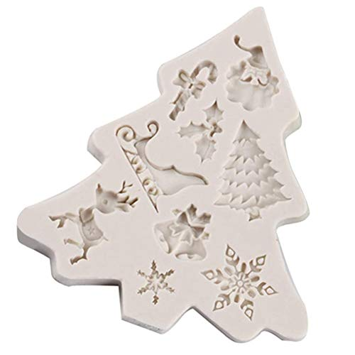 Christmas Fondant Silicone Moulds, Snowflake Christmas Tree Reindeer Santa Candy Chocolate Silicone Molds Baking Tool for Xmas Birthday New Year Party Supplies Cake Decoration