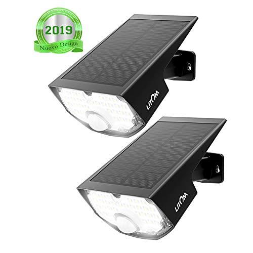 [2 Pezzi] Luci Solari Esterno, Super Luminoso 30LED Luce Solare Sensore Movimento Esterna, 270ºilluminare Lampada Solare LITOM (Sotto-Marchio di Mpow)IP65 Impermeabile 3 Modalità per Giardino