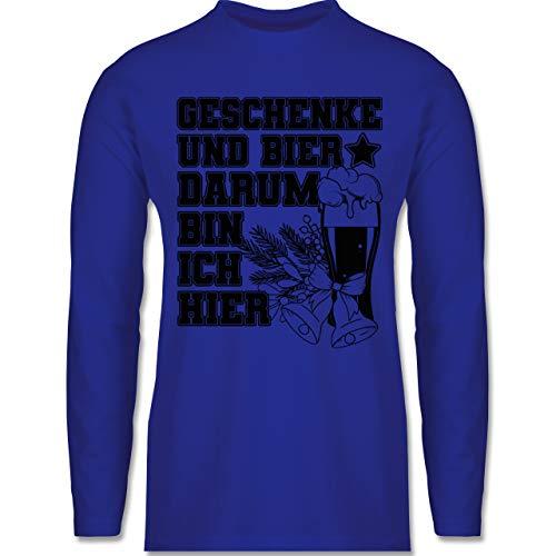 Weihnachten & Silvester - Geschenke und Bier darum Bin ich Hier - schwarz - L - Royalblau - Geschenk Herren Weihnachten - BCTU005 - Herren Langarmshirt