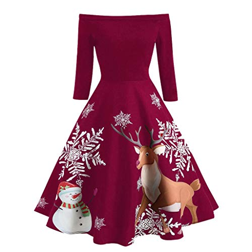Kword Vestito Donna Elegante Natale Mini Abiti Sexy Off Spalla Vestiti Donne Stampato Babbo Natale E Alce Abito Da Sera A Vita Alta Slim Fit Vintage Dress Christmas Party Gonna Xmas Cocktail Festa