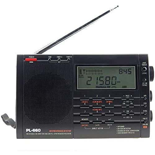 Radio Portátil Am FM De Onda Corta, Radio Transistor De Alimentación De CA con Pantalla LCD, Ajuste De Hora, Conector para Auriculares De 3,5 Mm, Altavoz Grande, Tono Alto/Bajo para El Hogar, Regalo