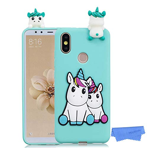 HopMore Cover per Xiaomi Mi A2 Lite Silicone Disegni 3D Panda Unicorno Divertenti Fantasia Gomma Morbido Custodia Antiurto Protettiva TPU Slim Case Bumper Caso Molle - Unicorno