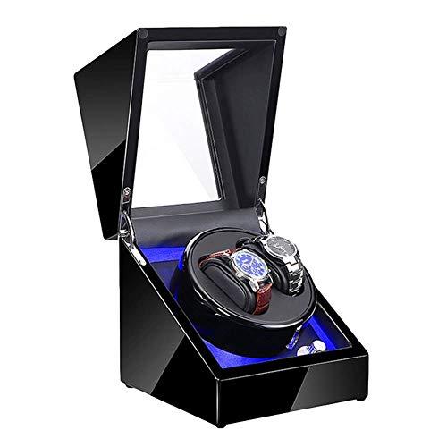 ZHANGYH Vibrador de Reloj mecánico Enrollador de Reloj Doble para Relojes automáticos con luz LED Azul Pintura de Piano Negra Adaptador de CA Exterior y Funciona con Bat