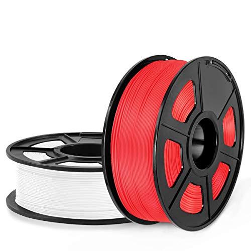 SUNLU Filamento PLA 1.75, Stampante 3D PLA Filamento 2kg Spool Tolleranza del diametro + - 0,02 mm, PLA Bianco + Rosso
