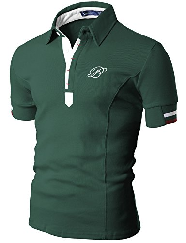 Doublju Mens Polo T-shirts with Short Sleeve GREEN (ASIAN-L/US-M)