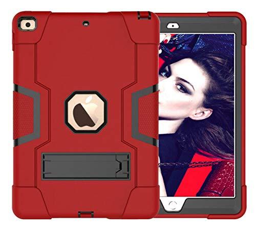 HNKHKJ Schwere Shochproof Silikon Rüstung Abdeckung für iPad 10 2 7. Gen A2198 A2200 A2232 10 2Tablet Funda Capa Fall für Kinder + Film + Pen-Red_Black