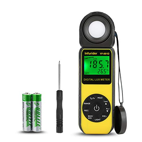 INFURIDER Digital Luxmeter Belichtungsmesser YF-881D Illuminometer 0.1-400,000 Lux Lichtmessgerät Lichtmesser mit um 270° drehbarem Detektor für...