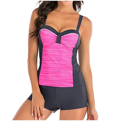 IHEHUA Tankini para mujer, gran conservador, monocolor, a rayas, espalda descubierta, push up, correa para el hombro, estampado rock, bikini dividido, traje de baño de dos piezas Rosa. 42