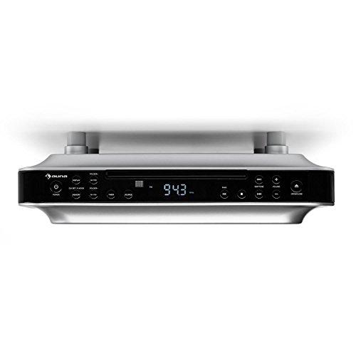 Auna KRCD 100 BT Black Edition - Radio de Cocina , Bluetooth , Reproductor de CD , Temporizador , Despertador , Sintonizador FM , MP3 , Pantalla LCD , 29 x 8 x 26,5 cm , 1,2 kg , 2X 12 W RMS , Negro