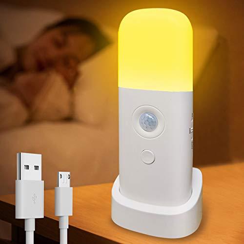 Yullmu Luz con sensor de movimiento para interior, luz nocturna LED, luz blanca cálida, 5 niveles regulable, batería recargable de...