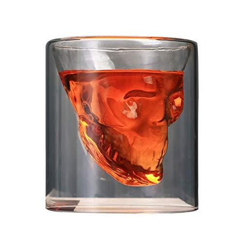 Doppelwandiges Glas mit Totenkopf-Motiv, transparent, 250 ml, für Kaffee, Wein, Bier, Tee, 2er-Set 250 ml durchsichtig