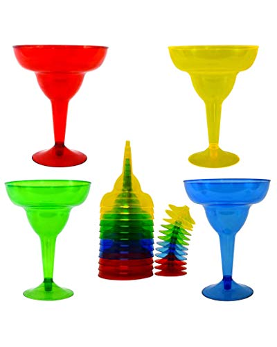 Margarita Glasses Set - Plastic Glass - 11.5 Ounces - 20 Count - Party Assorted Red, Blue, Green and Yellow