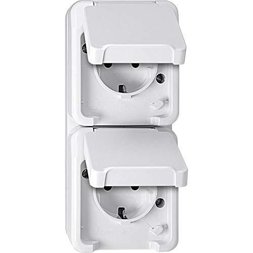 Merten MEG2328-8019 SCHUKO-Doppel-Steckdose, senkrecht angeordnet mit BRS, polarweiß, AQUASTAR, Weiß