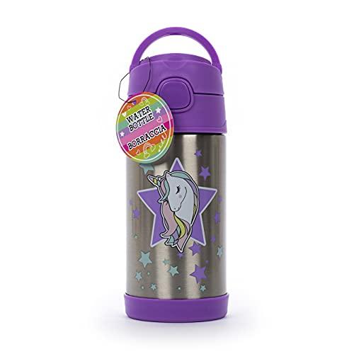 Tri-Coastal Desing - Borraccia Termica per Bambini in Acciaio - Divertente e Colorata con Coperchio e Gancio - capacità 300 ml (Disco Unicorn)