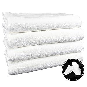 4 Toallas de baño Grandes (100x150 cms) 100% algodón más Zapatillas Talla única de Regalo. Color Blanco. 450 Gramos/m2.