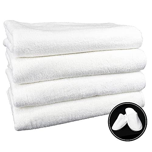4 Toallas de baño Grandes (100x150 cms) 100% algodón más Zapatillas Talla única de Regalo. Color...