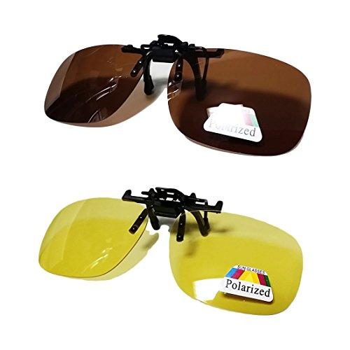 AVIL クリップオンサングラス2色セット プラスチックケース・オリジナルロゴ入りクロス・偏光レンズチェックシート付 (ブラウン&イエロー, L)