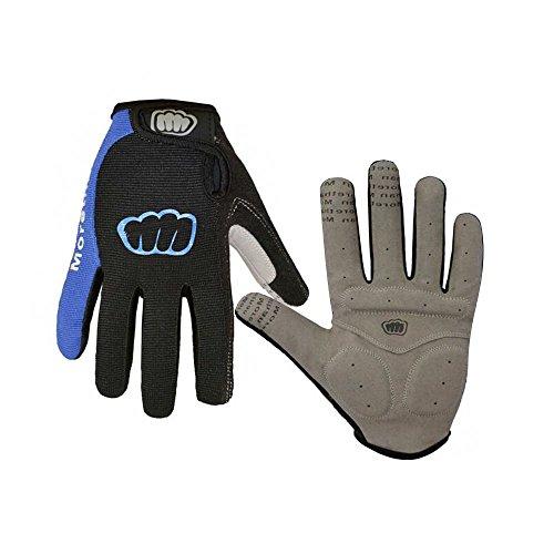 ONT Fahrradhandschuhe Fitness Handschuhe Damen Herren Trainingshandschuh Adjustable Sporthandschuhe für Radsport Camping Vollfinger Fahrradhandschuhe mit Touchscreen Geräte Blau/M