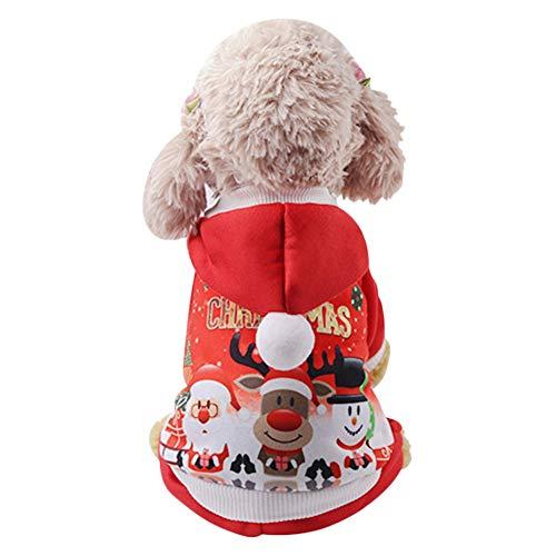 Ropa de Navidad para perro, gato, disfraz de animal de compaa, otoo e invierno, Jersey de animal domstico clido y transpirable de nailon, abrigo con capucha, regalo de Navidad para perro y gato