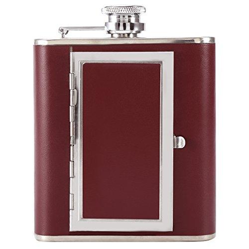 Frasco de bolsillo para estuche de cigarrillos, frasco de vino portátil de diseño 2 en 1 de acero inoxidable, espejo incorporado, amante de la familia(red)