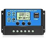 [2021 actualizado] Controlador de carga solar, panel solar, regulador inteligente de batería con doble puerto USB, 12 V/24 V PWM, pantalla LCD ajustable (30 A)