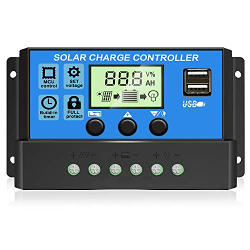 [2021 Upgraded] Solar Charge Controller, Solar Panel Battery Intelligent Regulator with Dual USB Port 12V/24V PWM Auto Paremeter Adjustable LCD Display (Blue 30a)