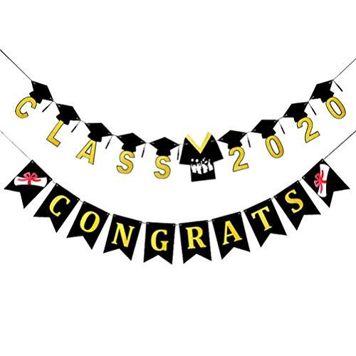 PRETYZOOM Banner de Graduación 2020 Bunting de Fiesta de Graduación Felicidades Guirnalda de Graduación 2020 Decoraciones de Fiesta de Graduación