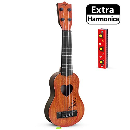 hhobby stars Kids Guitar Musical Toy Ukulele Classical Instrument(Brown),with Extra Harmonica 16 Holes