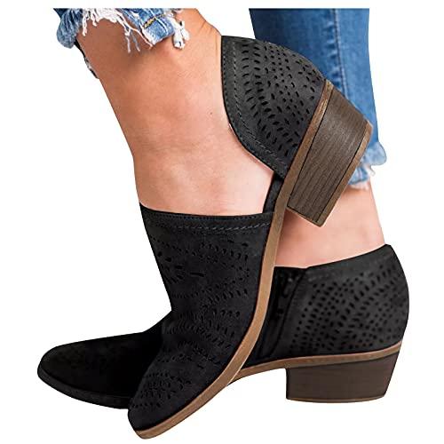 Beudylihy Enkelvoudige damesschoenen, vrijetijdsschoenen, korte laarzen met lage hak, ritssluiting, enkellaarsjes, zwart, 39 EU