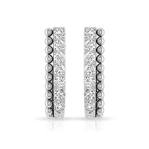 Aretes con forma de J de diamante certificado IGI de 0,22 ct, para mujer, oro de 14 k, medio aro, antiguo de doble capa, regalo para el día de la madre, 14K Oro blanco, Par