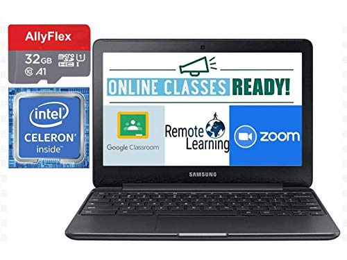 """2020 Samsung Chromebook 11.6"""" Laptop Computer for Business Student, Intel Celeron N3060 up 2.48 GHz, 4GB RAM, 16GB eMMC, up to 11 Hrs Battery Life, WiFi, HDMI, Chrome OS, AllyFlex 32GB Micro SD Card"""