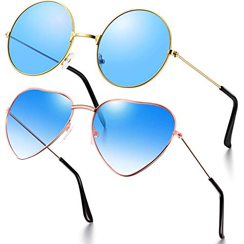 2 Gafas de Sol de Hippies Gafas de Sol Estilo Hippies Retro Gafas de Sol de Trajes de Disfraces Hippies Gafas de Hombres Mujeres (Forma Corazón/ Redonda Azul)