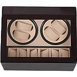 CUHAWUDBA Automatische Mechanische Uhrenbeweger Aufbewahrung Box Huelle Inhaber 4 + 6 Sammlung Uhr Display Schmuck Wickler Box EU Stecker