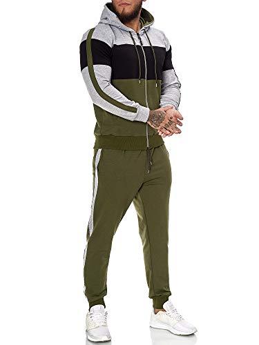 OneRedox | Herren Trainingsanzug | Jogginganzug | Sportanzug | Jogging Anzug | Hoodie-Sporthose | Jogging-Anzug | Trainings-Anzug | Jogging-Hose | Modell JG-1082 Grau-Schwarz-Oliv L