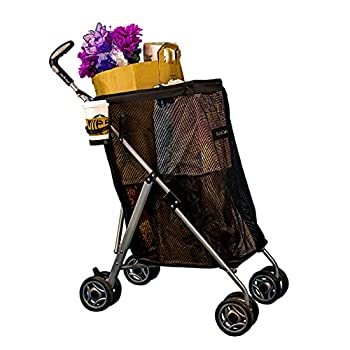 BagBuddyCart Portable Utility Cart with Wheels Foldable with Double Front Swivel Wheels Reusable Trolley Easy and Compact Fold Up Transport up to 50 LB Aluminum & Mesh Fabric Black