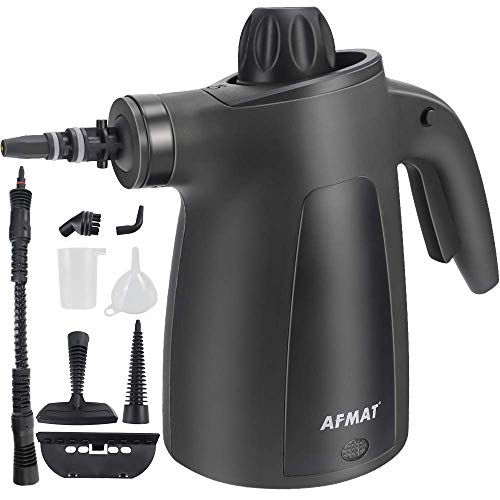 AFMAT Handheld Pressurized Steam Cleaner, Multi-Function Multi-Purpose Handheld Steam Cleaner with 9 Pieces of Accessories, Suitable for Home, Sofa, Bathroom, Car seat, Office, Bedroom Cleaning-Black