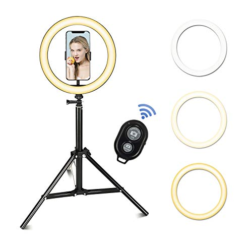 ELECWISH 10.2' LED Ring Light with Tripod Stand, Dimmable 3 Color Modes, 10 Level Adjustable Brightness with Support USB Charging