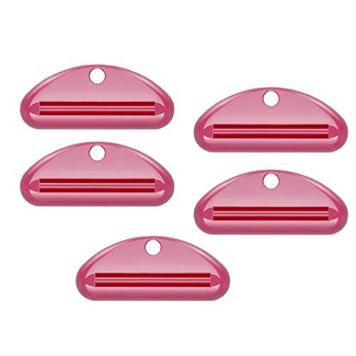 Pasta de dientes de plástico dispensador del exprimidor tubo de crema dental exprimidor exprimidor Clip Cosméticos Cuidado dispensador del balanceo Baño Extracto rojo 5PCS