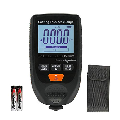 ERAY Coating Paint Thickness Gauge Meter Digital Handheld for Car Automotive with Backlight LCD Display (Black)