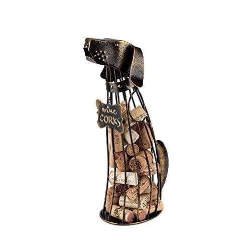 True Dog Wine Cork Holder, Decorative Wine Cork Storage and Decor, Set of 1, Rustic Bronze Finish, Holds 50 Wine Corks