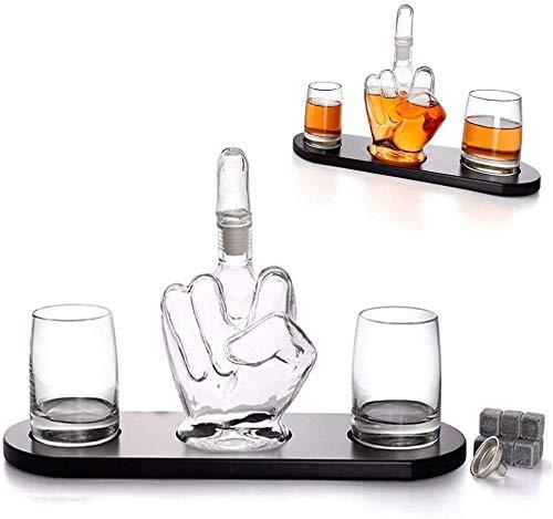 Dedo Medio Decantador de Whisky con 2 Vasos y Base de Madera Decantador de Licor de 1000 ml con tapón de Dedo Medio extraíble Fantastic