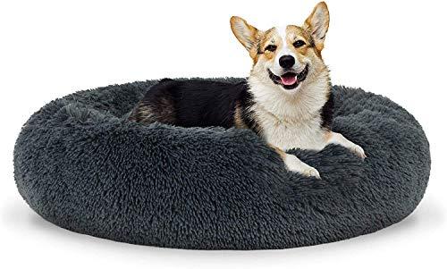 GAOZHEN Alfombrilla de cama para perros de lujo suave y lavable con parte inferior antideslizante para perros medianos y grandes extragrandes, redonda para perros, cómoda colchoneta M-gris oscuro